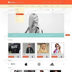 橙色的时尚服装购物商城响应式模板html源码