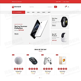 红色的电子数码商店HTML响应式模板